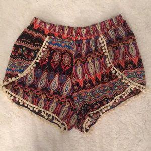 Pants - Boho Shorts with Pom Poms